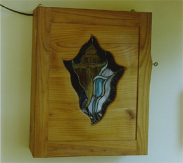 Cherrywood Wall Cabinet with Stained Glass Detail